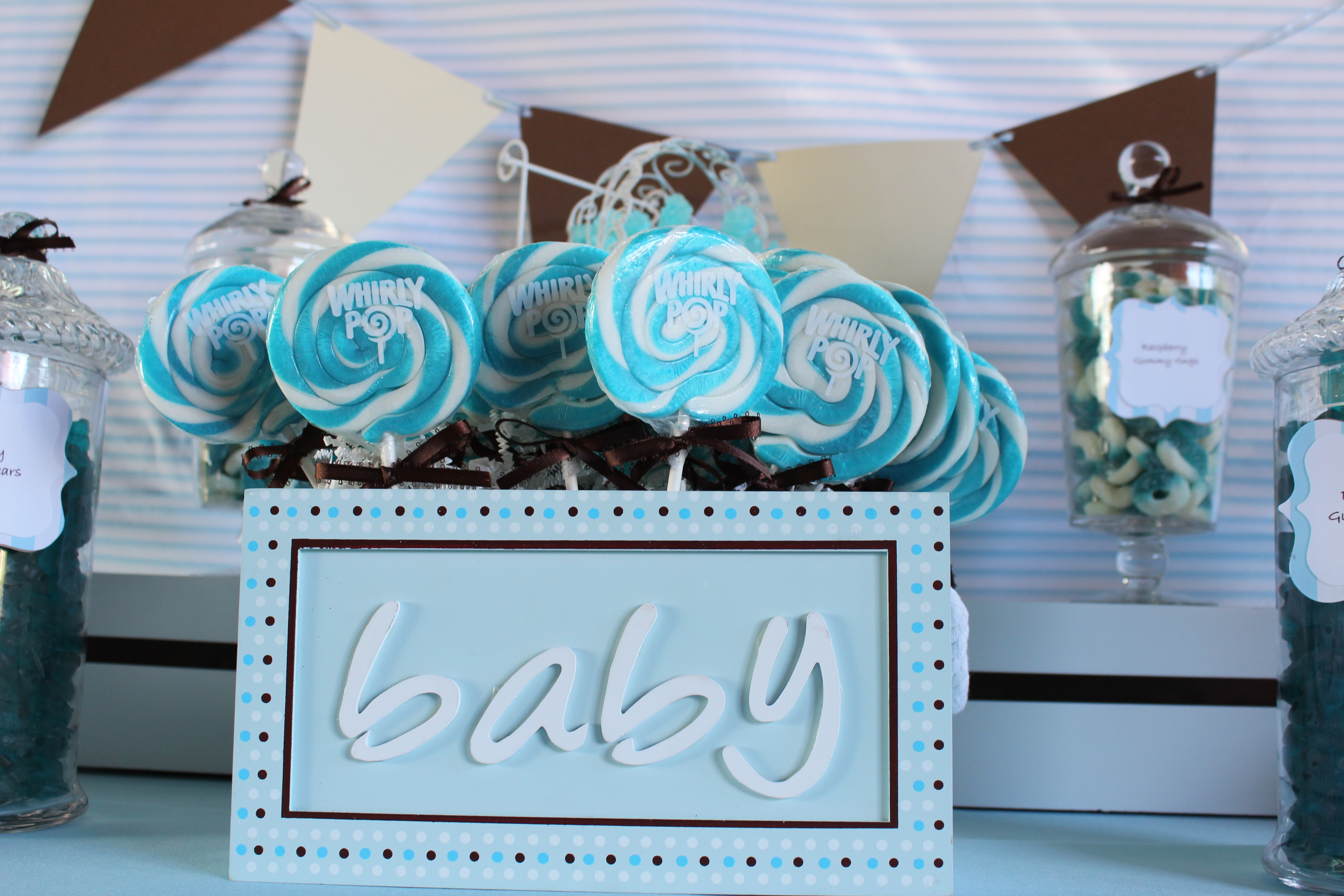baby blue candy buffet for the beautiful amanda who is due in march i loved the colors amanda picked out so creating this buffet was so much fun